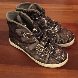 Justice Silver Sequence Sneakers Size 3, like new